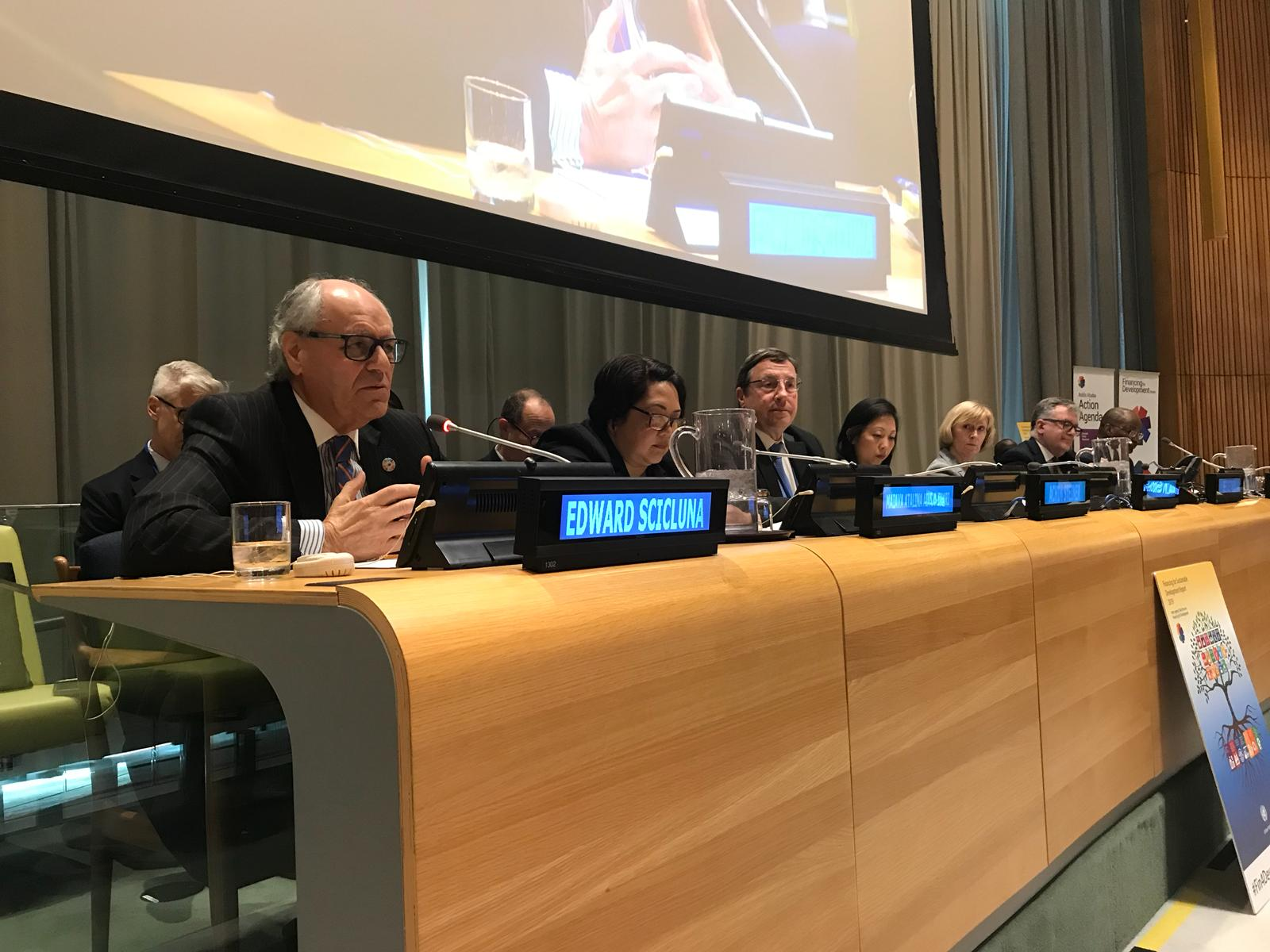 PRESS RELEASE BY THE MINISTRY FOR FINANCE Minister Scicluna addresses the UN Forum on Financing for Development